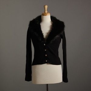 Anthropologie Vedette Cardigan Fur Collar Sweater